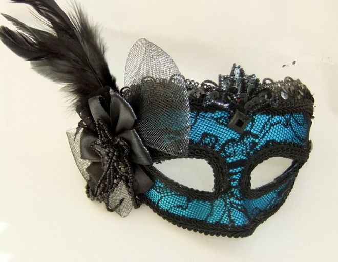 Blue Lace mask on a headband